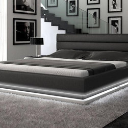 Luxurious Bedroom Collection - BUYS- INFINITY Contemporary Leather Upholstered Low Profile Design With Ambient Lighting Bedroom Set
