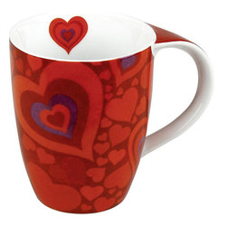 Konitz - Konitz 'Hearts' Mugs (Set of 4) - At Konitz, everything revolves around mugs. These 'Hearts' mugs come in a set of four and feature classic ceramic construction in red and white colors.