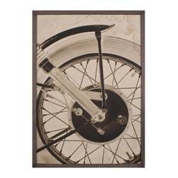 Kathy Kuo Home - BSA Motorcyle Wheel Industrial Loft Photo Wall Art - Framed - This witty piece of art puts the gears in motion. Bold and graphic, it's the perfect piece for your city loft, home office or anywhere else you can appreciate the mechanics of a motorcycle.