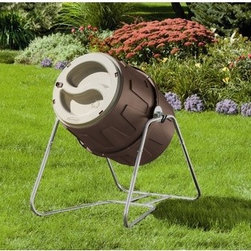 Suncast - 6.5 Cu. Ft. Tumbler Composter - Features: -Galvanized sturdy steel frame.-Latching dual lids allow easy fill and empty.-Capacity: 48 7/11 Gallon.-Durable resin construction.-Color: Light Taupe and Mocha.-Distressed: No.-Country of Manufacture: United States.-Product Type: Composter.-Color: mocha with light taupe accents.-Powder Coated Finish: No.-Gloss Finish: No.-Material: plastic.-Hardware Material: Galvanized steel.-Non-Toxic: Yes.-Water Resistant: No.-Odor Resistant: No.-Stain Resistant: Yes.-Rust and Corrosion Resistant: Yes.-Warp Resistant: Yes.-Mildew Resistant: Yes.-Algae Resistant: No.-Insect Resistant: No.-Rodent-Proof: Yes.-UV Resistant: Yes.-Fade Resistant: Yes.-Composter Capacity: 48.62.-Tumbler: Yes -Rotation Frequency: 15..-Spigot Included: No.-Worm Farm: No.-Year-Round Use: Yes.-Indoor or Outdoor Use: Outdoor only.-Foldable: No.-Hose Included: No.-Debris Screen Included: No.-Planter Included: No.-Compostable Bag Included: No.-Compost Completion Time: 4.-Number of Interior Chambers: 1.-Aeration Holes: Yes.-Wall Mounted: No.-Latching Lid: Yes.-Number of Access Doors: 2.-Vents: Yes.-Drainage: No.-Dual Overflow: No.-Flat Back: No.-Wheels: No.-Weight Capacity: 60.-Swatch Available: No.-Recycled Content: No.-Eco-Friendly: No.Specifications: -Compost in 3-4 weeks versus 1 year in a stationary composter.-EPP Compliant: No.-General Conformity Certified: No.-Green Guard Certified: No.-BPA Free: No.Dimensions: -Dimensions: 40'' H x 31'' W x 32'' D.-Weight: 20 lbs.-Overall Product Weight: 33.-Overall Height - Top to Bottom: 42.5.-Overall Width - Side to Side: 31.5.-Overall Depth - Front to Back: 41.Assembly: -Assembly Required: Yes.-Tools Needed: wrench, screwdriver.-Additional Parts Required: No.