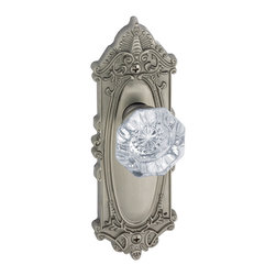 Grande Victorian Plate with Crystal Knob - Grandeur Grande Victorian Plate combined with sparkling 24% Lead Crystal Chambord Knob. Superbly crafted decorative door hardware that will radiate your passion for life and luxury from room-to-room.