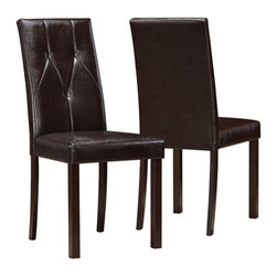 Monarch Specialties - Monarch Specialties I 1181 Dark Brown Leather-Look 38 Inch Dining Chair [Set of - Create a casual, modern fashion statement to your dining area with these dark brown, leather-look side chairs. These diamond-tufted chairs compliment any wood-finish table and creates an elegant look and feel to your kitchen space.  Dining Chair (2)