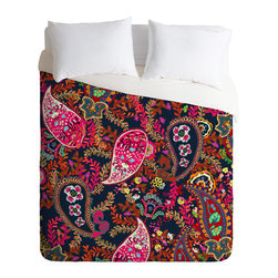 DENY Designs - Rachelle Roberts Boho Paisley Duvet Cover - Turn your basic, boring down comforter into the super stylish focal point of your bedroom. Our Luxe Duvet is made from a heavy-weight luxurious woven polyester with a 50% cotton/50% polyester cream bottom. It also includes a hidden zipper with interior corner ties to secure your comforter. it's comfy, fade-resistant, and custom printed for each and every customer.