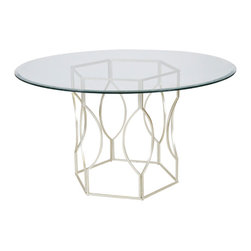 "worlds away - Worlds Away Abigail 48"" diameter Dining Table, Silver, 48 - Worlds Away Abigail Silver Leaf 48"" diameter Dining Table"