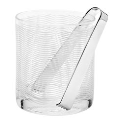 Sooti Ice Bucket and Tongs Set - This clear, double thick ice bucket is mouth-blown and hand-etched by artisans in Tuscany. The satin finish is achieved by pouring fine sand made of melted crystal over the piece during the production process.Designed by Paola Navone. Handmade in Italy.