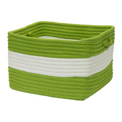 "Colonial Mills, Inc. - Rope Walk, Bright Green Utility Basket, 14""X10"" - Hold everything. This square, handled basket will help you hold, hide and haul just about everything, indoors or out. Durable and adorable, the braided polypropylene is stain and fade resistant in a bright green and white stripe that's sure to look great in your mudroom or laundry room, or holding towels near the pool."