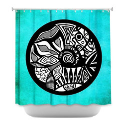 DiaNoche Designs - Shower Curtain - Pom Graphic Abstract Circle Turquoise - DiaNoche Designs works with artists from around the world to bring unique, artistic products to decorate all aspects of your home.  Our designer Shower Curtains will be the talk of every guest to visit your bathroom!  Our Shower Curtains have Sewn reinforced holes for curtain rings, Shower Curtain Rings Not Included.  Dye Sublimation printing adheres the ink to the material for long life and durability. Machine Wash upon arrival for maximum softness on cold and dry low.  Printed in USA.