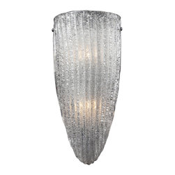 Elk Lighting - Luminese 2-Light Wall Sconce in Satin Nickel - The sparkling effect of the glass in this series is captivating. The process to achieve this desired result starts with making a clear, hand-formed glass bowl. Then, a coating of either clear or amber mini glass fragments are melted to the inside surface, giving it a crystallized appearance, while the outside surface remains smooth. Choose between a satin nickel frame with clear glass or aged bronze frame with amber glass.