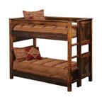 Fireside Lodge - Rustic Reclaimed Wood Bunk Beds Barnwood, Twin over Twin - This twin over twin bed is a  rustic  bunk  bed  also available in full  over  full,  or  queen  over  queen  configuration  just  might  be  the  perfect  solution  to  tight  sleeping  quarters,  or  when  you  want  to  maximize  the  number  of  guests  you  can  accommodate.  Instantly  double  the  capacity  of  the  loft  at  the  cabin,  or  create  comfortable  sleeping  quarters  for  twins  or  triplets,  even  consolidate  sleeping  arrangements  to  leave  more  floor  space  for  other  bedroom  furniture.  These  reclaimed  wood  bunkbeds  are  handcrafted  from  century-old  red  oak.  The  weathered  look  adds  character  and  dimension  to  your  space,  and  the  neutral  colors  blend  well  with  a  variety  of  decors.  Best  of  all,  the  sturdy  construction  of  these  beds  makes  them  a  better  investment  than  economy  bunk  beds  not  built  to  withstand  heavy  use.                  Full-length  hardwood  rails  for  strength  and  durability              Choose  Twin  over  Twin,  Full  over  Full,  or  Queen  over  Queen  sizes              Built-in  ladder              Ladder  placement  can  be  left  or  right  side  of  upper  bunk              44  of  space  between  bottom  rail  and  top  bunk              Add  bunkie  board  to  eliminate  lower  box  spring  and  maximize  headroom  between  bunks              Authentic  reclaimed  red  oak  barnwood              Barnwood's  natural  character  is  preserved  by  a  clear  catalyzed  lacquer  finish              T-support  underneath  Queen  size  bed  for  extra  support              Artisan  handcrafted  in  the  USA              Top  bunk  will  support  standard  size  mattress  with  maximum  depth  of  10  inches              Assembly  required              Free  curbside  shipping  within  the  lower  48  states;  available  shipping  upgrades.               Allow  4-6  weeks  for  shippi