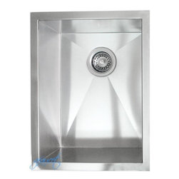 """Ariel - 15 Inch Stainless Steel Undermount Single Bowl Kitchen / Bar / Prep Sink - This single bowl sink is constructed of high quality 16-gauge stainless steel and is the perfect size for a small space. Exterior Dimensions 15"""" x 20"""". Interior Dimensions 13"""" x 18"""". Depth 10""""."""