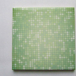 Custom Photo Factory - Daltile Ceramic Wall Tile Multiple Green Dots Pattern . - Pack of/Case of: 20 Tiles. Samples Available for purchase. All of our tiles are printed on white ceramic Daltile; the same high quality tiles found at the hardware store. Our ceramic tiles are permanent designs. They are scratch resistant and highly resistant to chemical wear and sunlight. As a matter of fact, our tiles will never fade, even in direct sunlight, 24 hours a day. The only way to damage the print is to damage the tile itself by breaking it. For use in residential and commercial. Glazed glossy finish with a high sheen and uniform appearance in tone. Dimensions of tile: 3 inches x 6 inches or 4 inches x 4 inches (actual 4-1/4 in. x 4-1/4 in). Installation: Indoor and outdoor use on walls in your kitchen and bath and living area.