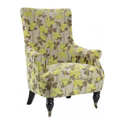 Ella Arm Chair, Green Flowers