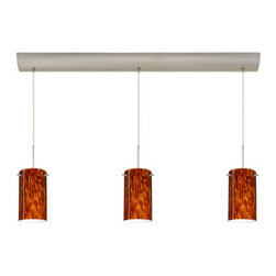 Besa Lighting - Besa Lighting 3BV-440418 Stilo 3 Light Linear Pendant - Stilo 7 is a classic open-ended cylinder of handcrafted glass, a shape that will stand the test of time. Our Amber Cloud glass is full of floating, vibrant warm tones that range from light gold to deep amber. When lit, the humid color palette illuminates to exude a harmonious display. This decor is created by rolling molten glass in small bits of brown hues called frit. The result is a multi-layered blown glass, where frit color is nestled between an opal inner layer and a clear glossy outer layer. This blown glass is handcrafted by a skilled artisan, utilizing century-old techniques passed down from generation to generation. Each piece of this decor has its own artistic nature that can be individually appreciated. The cord pendant fixture is equipped with three (3) 10' SVT cordsets and a 3-light bar canopy.Features: