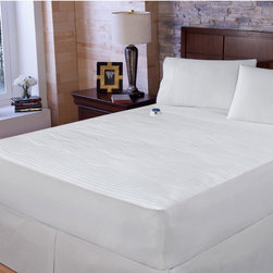 RESTONIC - Restonic Waterproof Electric Warming Mattress Pad with Safe & Warm Technology - Warm up your bed with this electric mattress pad from Restonic. This luxurious pad features waterproof protection and 233-thread count blended fabric. Equipped to offer you hours of warmth during cold nights,this pad is a practical splurge.