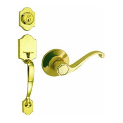 DHI-Corp - Sussex 2-Way Entry Door Handle Set with Lever, Handle and Keyway - The Design House 753764 Sussex 2-Way Entry Handle Set features a lock handle in polished brass. The popular styling of the scalloped shaped handle is easily incorporated into most architectural styles and will add a touch of elegance to your decor. The scalloped handle set has a reversible handle for right or left hand doors and includes a radius and latch plate. It fits doors 1-3/8-inches to 1-3/4-inches thick. The universal 6-way latch is adjustable from 2-3/8-inches to 2-3/4-inches. With grade 3 security, this certified lock will protect your home. The Design House 753X Sussex 2-Way Entry Handle Set comes with a limited lifetime mechanical warranty and a 5-year finish warranty that protect against defects in material and workmanship. This product is ANSI Grade-3 certified, which means this knob is rated for residential security. Design House offers products in multiple home decor categories including lighting, ceiling fans, hardware and plumbing products. With years of hands-on experience, Design House understands every aspect of the home decor industry, and devotes itself to providing quality products across the home decor spectrum. Providing value to their customers, Design House uses industry leading merchandising solutions and innovative programs. Design House is committed to providing high quality products for your home improvement projects.