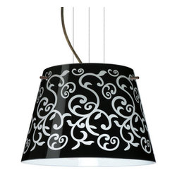 Besa Lighting - Besa Lighting 1KG-4393BD-LED Amelia 1 Light LED Cable-Hung Pendant - Amelia features a tapered drum shape, open at the top, that fits beautifully in transitional spaces. Our Black Damask glass is an art nouveau creation in hand-blown glass. The inside of the glass is etched so the pattern appears frosted. The background is painted in layers with black and white on the inside so the outer surface remains glossy. The cable pendant fixture is equipped with three (3) 10' silver aircraft cables and 10' AWM cordset, and a low profile flat monopoint canopy.Features: