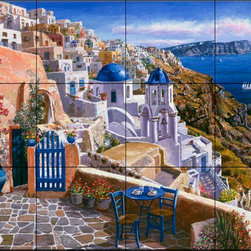 The Tile Mural Store (USA) - Tile Mural - View Of Santorini - Kitchen Backsplash Ideas - This beautiful artwork by Sam Park has been digitally reproduced for tiles and depicts the patio of a greek terrace and view of the ocean.  Waterview tile murals are great as part of your kitchen backsplash tile project or your tub and shower surround bathroom tile project. Water view images on tiles such as tiles with beach scenes and Mediterranean scenes on tiles Tuscan tile scenes add a unique element to your tiling project and are a great kitchen backsplash idea. Use one or two of our landscape tile murals for a wall tile project in any room in your home for your wall tile project.