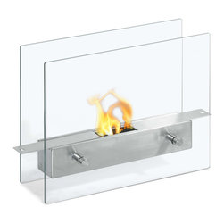"Ignis Products - Tab Double Sided Tabletop Ventless Ethanol Fireplace - Take the heat with you whoever you want it with this beautiful Tab Tabletop Ventless Ethanol Fireplace that is just as functional as it is beautiful. A true marriage of form and function, this design sits on any table and can be used in any room where you want extra heat, or even taken outside to the patio or deck. It is equipped with an 0.7-liter ethanol fuel burner that will burn for up to two hours between refills. It features glass sides that allow you to see the open flame inside to create just the right ambiance for your space. Dimensions: 13.9"" x 11"" x 4.75"". Features: Ventless - no chimney, no gas or electric lines required. Easy or no maintenance required. Tabletop, Freestanding - can be placed anywhere in your home (indoors & outdoors). Capacity: 0.7 Liter Burner. Approximate burn time - 2 hours per refill. Approximate BTU output - 2000."