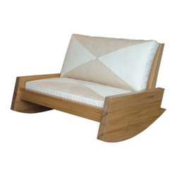 Asturias Rocking Sofa - Rock me, baby. This handsome wood love seat–size rocker from Brazil looks quite inviting to me. There are many other classy pieces that match and would make any outdoor — or indoor — living space really special.