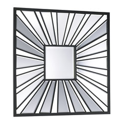 Cyan Design - Cyan Design Segment Square Mirror X-28040 - A modern take on the starburst design, this Cyan Design wall mirror features a clean square shape. The square frame features rays shooting outward from the center square mirror, with iron and beveled mirror panels to accentuate the look. Perfect for an array of traditional, modern, or contemporary settings.