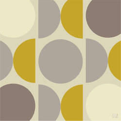 "Emma at Home - MOD Print, Buttered Toast, 20"" x 30"" - Circles and demilunes provide a graphic pop to plain-Jane walls. This ""Buttered Toast"" colorway in warm grays and mustard yellow is a favorite, but the print also comes in shades of orange, green or blue."