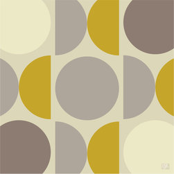 """Emma at Home - MOD Print, Buttered Toast, 20"""" x 30"""" - Circles and demilunes provide a graphic pop to plain-Jane walls. This """"Buttered Toast"""" colorway in warm grays and mustard yellow is a favorite, but the print also comes in shades of orange, green or blue."""