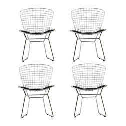Modway - CAD Dining Chairs Set of 4 in Black - The minimal nature of this CAD Wire Side Chair is an asset for any lover of modern furniture. A simple yet stylish design evoking the height of modern classic design. As comfortable as it is attractive, this is the sort of accent chair that starts conversations.