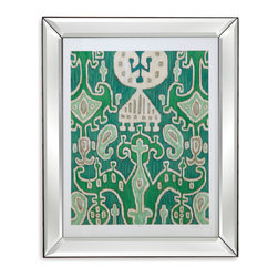 Bassett Mirror - Bassett Mirror Framed Under Glass Art, Emerald Ikat I - Emerald Ikat I