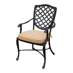 Lakeview Outdoor Designs - Laurel Bay Cast Aluminum Patio Dining Chair - Combining timeless styling with contemporary comfort, the Laurel Bay collection makes a distinguished statement in any outdoor space. This dining chair features a generous seat for superior comfort and a 3-inch, canvas heather beige cushion made from Sunbrella that resists fade and mildew while maintaining the softness of indoor fabric. The all-weather, cast aluminum frame is fully welded with a powder-coated, antique black finish and capped on the bottom with non-marking leveling feet for extra support.