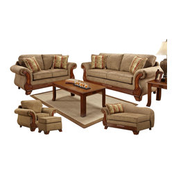 Chelsea Home Furniture - Chelsea Home Shannen 5-Piece Living Room Set in Radar Mocha and  Funhouse Salsa - Shannen 5 Piece Living Room Set in Radar Mocha and Funhouse Salsa belongs to Verona IV collection by Chelsea Home Furniture.