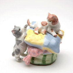 CG - 3.75 Inch Pair of Tabby and Ginger Cats Playing on Cushion Figurine - This gorgeous 3.75 Inch Pair of Tabby and Ginger Cats Playing on Cushion Figurine has the finest details and highest quality you will find anywhere! 3.75 Inch Pair of Tabby and Ginger Cats Playing on Cushion Figurine is truly remarkable.