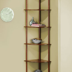 "Coaster - 800280 Corner Shelf - This pie-shaped shelf in cherry is perfect for corner spaces.; Dimensions: 15.75""L x 15.75""W x 72.00""H"