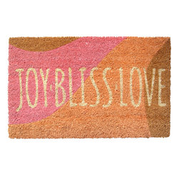 Entryways - Joy Bliss Love Non Slip Coir Doormat - This beautifully designed doormat will enhance your entry way or patio. It's made from the highest quality all natural coconut fiber with a PVC non slip backing.