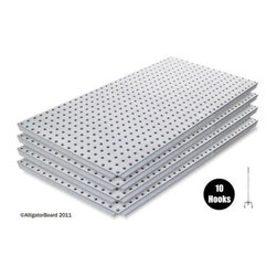 "Alligator Board Galvanized Panels - 4 Pack - When you're serious about your tools and toys get the seriously amazing Alligator Board Galvanized Panels - 4 Pack. These four peg boards are available in a variety of sizes to customize your work needs whether you're a full-time do-it-yourselfer or just ambitious about your hobbies. Each board is made from the toughest material available made with galvanized steel construction to hold up to 90 pounds of hammers saws and more. Plus it'll never rust discolor warp or tear. Complete with a limited 5-year manufacturer's warranty for your peace of mind. Additional information: Dimensions: 16L x 32W inches Dimensions: 17L x 33W inches Note: Boards 17L x 33W in. do not feature flange edging. About Alligator Board by Syr-TechSyr-Tech says of their 20-gauge steel Alligator Board """"It's not your father's pegboard but it will be your son's!"""" This faith in their product is not unfounded - their perforated steel is run with strength-reinforcing dimpled holes that are designed to replace the flimsy products of the past. When you buy a product made with Alligator Board you also buy into their tough-guy philosophy backed with a 5-year product warranty."
