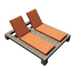 Forever Patio - Hampton Double Adjustable Chaise Lounge, Heather Wicker and Rust Cushions - The Forever Patio Hampton Modern Outdoor Wicker Double Adjustable Chaise Lounge with Burnt Orange Sunbrella cushions (SKU FP-HAM-DACL-HT-CR) blends comfort, style and function, creating a perfect relaxation spot for two. The UV-protected, heather wicker sports a flat woven design, creating a contemporary look with clean lines. Each strand of this outdoor wicker is made from High-Density Polyethylene (HDPE) and is infused with its rich color and UV-inhibitors that prevent cracking, chipping and fading ordinarily caused by sunlight. This outdoor chaise is supported by thick-gauged, powder-coated aluminum frames that make it more durable than natural rattan. This lounger includes fade- and mildew-resistant Sunbrella cushions for added comfort in your outdoor space.