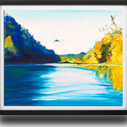 """Ann Rea - Bring home the Russian River with """"Fly River"""" by Ann Rea, Black Frame, Large - """"The geese follow the Russian River like a migration highway. Passing over head at the same times each day.""""-Ann Rea"""
