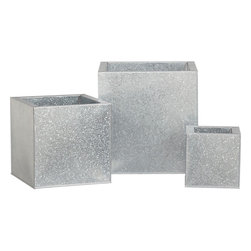 Galvanized Square Planters - I love these galvanized planters because they can bring a sleek, industrial look to help balance out modern colors.