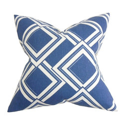 "The Pillow Collection - Jersey Geometric Pillow Blue 20"" x 20"" - Revamp your interiors with this unique and hip throw pillow. This square pillow adds a modern flair to your living space with its oversize geometric pattern set against a blue background. Ideal for contemporary and modern decor style, this accent pillow makes a great statement piece. US-made and crafted with 55% cotton and 45% linen material. Hidden zipper closure for easy cover removal.  Knife edge finish on all four sides.  Reversible pillow with the same fabric on the back side.  Spot cleaning suggested."