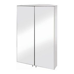 Croydex - Avisio Double Door Corner Medicine Cabinet - Manufacturer SKU: WC766105YW. 120 degree hinge, increases accessibility. 120 degree hinge, increases accessibility. Chrome plated pin handle (avoids finger marks on mirror). Internal MDF cabinet carcass increases strength. Easy to install. All fittings included. 17.72 in. W x 10.63 in. L x 27.56 in. HA great stainless steel cabinet that fits neatly into the corner of the bathroom. Beautifully styled, this cabinet even has a clever 120 degree angle hinge to give that extra accessibility to all areas of the cabinet.