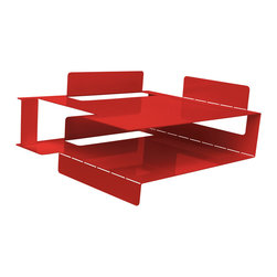 """Blu Dot - """"Blu Dot 2D:3D In/Out Box, Fire Engine Red"""" - """"If you can fold, you can be organized. From flat to fabulous in no time. Each piece is available in gun metal, fire engine red and white. Think of it as functional origami without papercuts. """""""