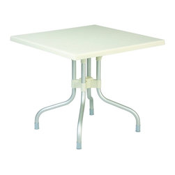 Siesta - Forza Square Folding Table 31 Inch Beige - -Made from commercial grade resin with folding, anodized aluminum legs, with non-skid rubber caps.