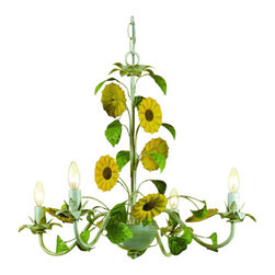 "AF Lighting - AF Lighting 7048-4H Elements Series ""Kansas Sunflowers"" Four-Light Chandelier wi - AF Lighting 7048-4H Elements Series ""Kansas Sunflowers"" Four-Light Chandelier with Cut Metal Flowers, Finished in Antique CreamAF Lighting 7048-4H Features:"