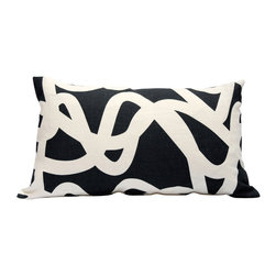 "Area Inc. - Current Graphite Long Decorative Pillow 14X24"" - Area Inc. - Add a fun print to your couch or bed using the 14-by-24 inch Current Graphite Decorative Pillow. Featuring a tangled white line pattern over a graphite linen background, this pillow has a bold look that pairs well with contemporary or eclectic decor. Includes a feather down insert."