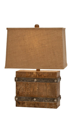 "ecWorld - Urban Designs 23"" Handcrafted Antiqued Weathered Wooden Table Lamp - Made with a modern rectangular box design featuring a natural weathered wood body bound on all sides with metal look stripping with metal rivets. The warm, rich wood grain glows under the warm light emitted from the burlap tan tapered shade."