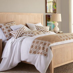"""Horchow - King White Duvet Cover, 110"""" x 102"""" - Textural intrigue in every piece. White linens are made of cotton; machine wash or dry clean. Natural-tone accessories with white detail are jute and polyester; dry clean. Cane design is hand embroidered. Pillows with pleated designs include the ob..."""