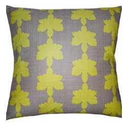 "Squarefeathers - Flint Pillow, Clover Pillow - The ""Flint"" collection can be a fun addition to any room in your house. Exhibiting amusing patterns and colors. Made of Faux linen print design. The back is a lime faux linen and has knife edge trim. It has a soft and pump feataher/down insert inclosed with a zipper. Like all of our products, this pillow is handmade, made to order exclusively in our studio right here in the USA."