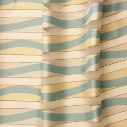 "Hang Ten Stripe Drapery Fabric in Blue Surf - Hang Ten Stripe Drapery Fabric in Blue Surf is a sheer, striped Italian drapery fabric is available online, by the yard, at FabricSeen's signature discount. The alternating sheer and solid stripes on this beachy fabric create a filtered light effect ideal for window treatments or canopies. The sheer stripe has a hint of a metallic accent while the solid stripe has a playful blue and white wave pattern. Made in Italy from 100% Trevira CS polyester. Passes NFPA 701. Cleaning Code S – Solvent-based cleaning agents only (water-free, dry cleaning). Width: 128"" Repeat : 11 7/8""W X 16""H"