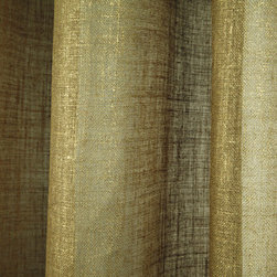 Linen Sheer Metallic Drapery in Gold - Discount 100% Belgian Linen Sheer Metallic Drapery Fabric in Gold can be used as drapes, curtains, canopy, or upholstery or wall covering (if backed).