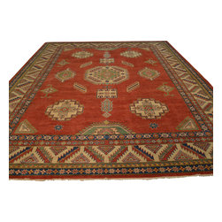 Tribal Red Kazak Oversize 11'x16' 100% Wool Hand Knotted Oriental Rug Sh17756 - Our Tribal & Geometric hand knotted rug collection, consists of classic rugs woven with geometric patterns based on traditional tribal motifs. You will find Kazak rugs and flat-woven Kilims with centuries-old classic Turkish, Persian, Caucasian and Armenian patterns. The collection also includes the antique, finely-woven Serapi Heriz, the Mamluk Afghan, and the traditional village Persian rug.