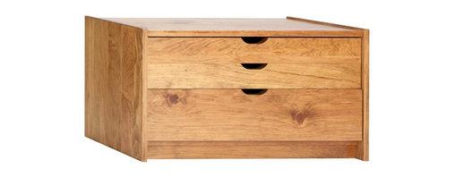 Renovators Supply - Drawer Chests Honey Pine Document Drawer Chest 16 1/2'' H - Document Chest 3 drawer. This solid pine document chest unit has 3 drawers. Customize flat storage to accomodate oversized papers, prints, etc. The chests may be stacked together, each sold individually. Crafted of solid pine the document chest comes in an Honey Pine Finish. Top 2 drawers are 2 1/2 in. deep and the bottom drawer is 5 3/4 in. deep. Measures 16 1/2 in. H x 33 1/2 in. W x 12 1/2 in. proj.